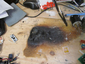 burnt benchtop